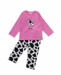 Cotton Full Sleeve Girl Night Wear, top and bottom, Age Group: 1-6 Years