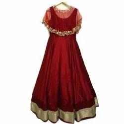 Velvet Party Wear Red Designer Ladies Gown, Length: Floor Length