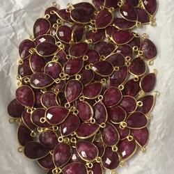 Red Ruby Color Gemstone Connector Gold Plated