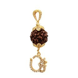 5 Face Rudraksha Gold Plated Om Locket Pendant
