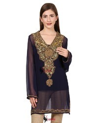 Handcrafted Sequins Kurta with Stones and Brass