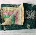 Green White And Black Vintage Kantha Quilt