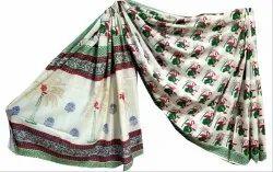 Bagru Printed Cotton Mulmul Saree