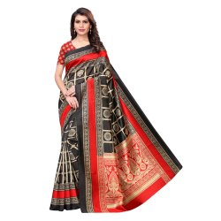 Black Colored Art Silk Printed Saree