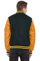 Dark Green Wool Body Gold Leather Sleeves Varsity - Men
