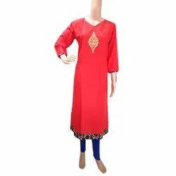 Cotton Stitched Ladies Party Wear Kurti, Machine wash