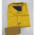 Cotton Slub Casual Wear Mens Yellow Plain Shirt