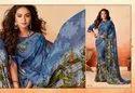 Printed Chiffon Saree - Peacock