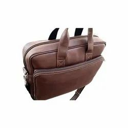 Plain Brown Corporate Leather Laptop Bag