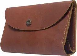 Plain Brown Leather Ladies Clutch Wallet