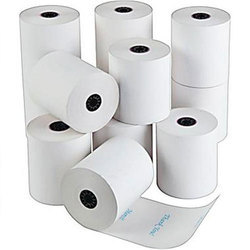 White Plain Thermal Paper Roll, For Printer, GSM: 80 - 120 GSM