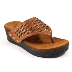 Klaxxyque Footwear Party Wear Ladies Brown Casual Slipper, Size: 7-10