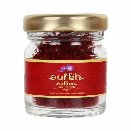Natural 2 Gram Saffron / Kesar Grade 1 - Surkh Premium Bottle Pack