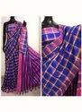Checks Printed Cotton Silk Sarees