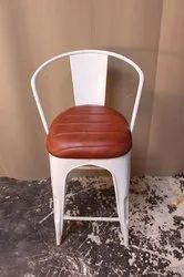 White Iron Metal Tolix Bar Chair With Cushion, For Hotel And Restaurant, Size: W17xD16xH46