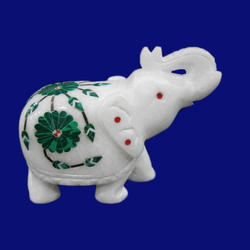 Marble Inlay Elephant Figurine