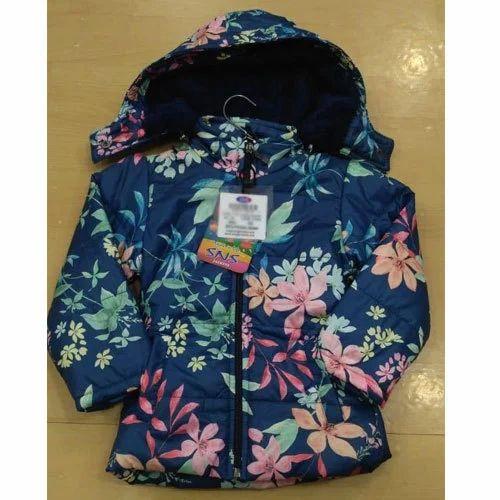 ae8ccb93ab5d SNS Blue Kids Girls Printed Winter Jacket