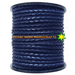 Navy Blue Sheep Nappa Braided Leather Cord