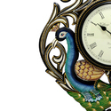 Wooden Peacock Wall Clock
