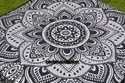 Indian Black Flower Silver Ombre Square Mandala Cushion Cover