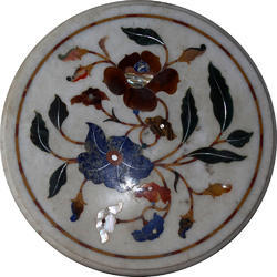 High Quality Italian Inlay Round Marble Dining Table Top