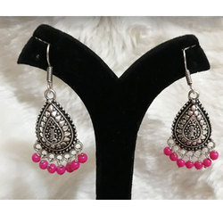 Oxidized German Silver with Pink Jhumka