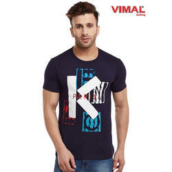 Blue Graphic Printed Round Neck T Shirt For Men