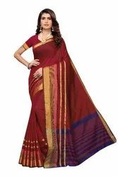 Cotton Silk Party Wear Red Saree With Blouse Piece