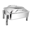 Square Glass LID Chafer W Pipe Legs 7LTRS