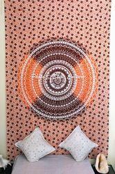Orange Twin Indian Throw Beach Mandala Tapestry Wall Hanging
