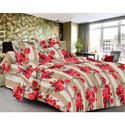 Red Flower Printed Cotton Bed Sheet
