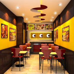 Restaurant Interior Decoration Service, Work Provided: False Ceiling/POP