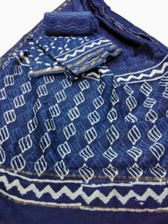 Bagru Hand Block Printed Indigo Chanderi Suit Set With Dupatta