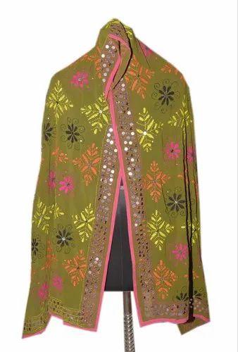 5b6b12970269d Pashmina Sahwls & Scarves - Phulkari Dupatta Scarf Chunni Georgette  Embroidered Indian Hijab Neck Wrap Traditional Stole Sarong Manufacturer  from Jaipur
