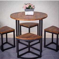 Brown metal and wood Iron Round Table with 4 Stool, For Home, Size: 30x30x30 Inch