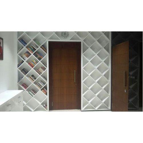 White PU Finish Modular Book Shelves