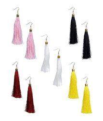 Brass Festival Ankur Stylish Multi Colour Silk Tread Combo Earring For Women