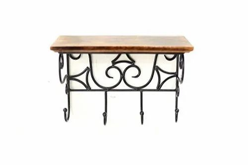 Amaze Wooden And Wrought Iron Wall Bracket Book Rack Cloth Hanger