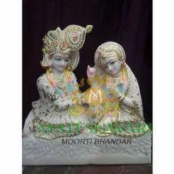Marble Colorful Radha Krishna Statues