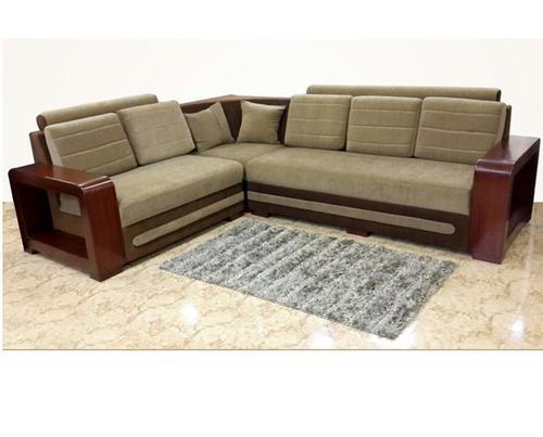 sofa with wooden frame gray finish two cushion wooden