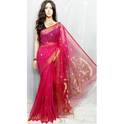 Dark Pink  Pure Resom Saree