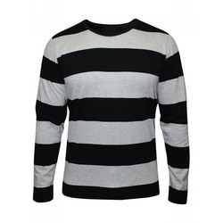 Men's Cotton Full Sleeve Striped T-Shirt, Size: S to XL