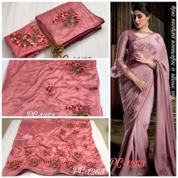 Vichitra Silk Embroidered Saree