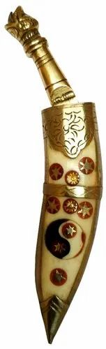 Brass Dagger Paper Cutter: Collectible Mini Khukhri Knife with Yin-Yang