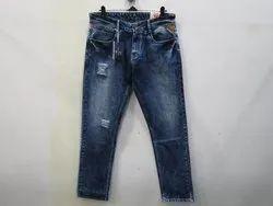 Mens Dark Blue Straight Fit Stretch Jeans(PW-017)