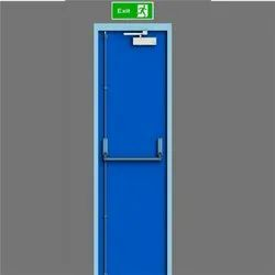 Blue Emergency Exit Door