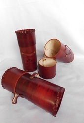 Custom Made Leather Scroll Tubes Suitable For Use As Shaving Kit Holders, Size: 12*8