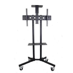 Stainless Steel Black Portable TV Trolley