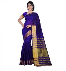 Blue Cotton Silk Woven Saree