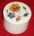 White Flower Inlay Round Marble Box, For Home